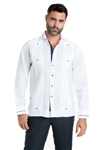 Wholesale Clothing Linen Shirt Guayabera Long Sleeve Button Down with Piping Collar and Cuff Trim -M-5269-B