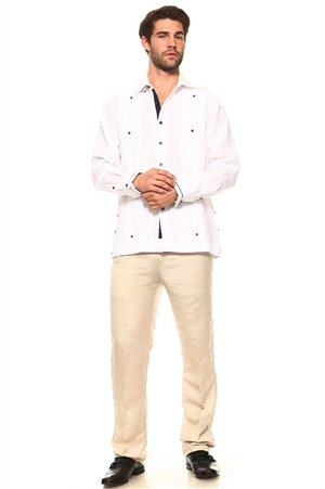 Wholesale Clothing Men's Guayabera Linen Shirt Button Down Long Sleeve with Stripe Trim Collar and Cuff Chacabana -M-5269-B