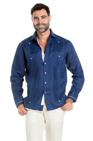 Wholesale Clothing Linen Shirt Guayabera Long Sleeve Button Down with Piping Collar and Cuff Trim -M-5269-C