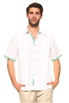Wholesale Clothing Men's Guayabera Linen Shirt Button Down Short Sleeve with Gingham Print Accent Trim Collar and Cuff Chacabana -M-5301-A