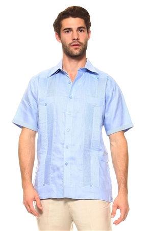 Wholesale Clothing Men's Guayabera Linen Shirt Button Down Short Sleeve with Gingham Print Accent Trim Collar and Cuff Chacabana -M-5301-B