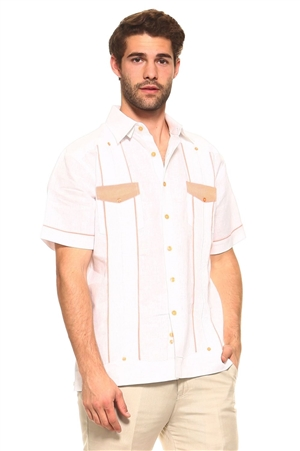 Wholesale Clothing Men's Guayabera Linen Shirt Button Down Short Sleeve with Gingham Print Accent Trim Flap Double Front Pocket Chacabana -M-5303-A