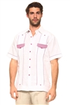 Wholesale Clothing Men's Guayabera Linen Shirt Button Down Short Sleeve with Gingham Print Accent Trim Flap Double Front Pocket Chacabana -M-5303-B