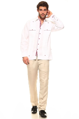 Wholesale Clothing Men's Guayabera Linen Button Down Shirt Long Sleeve with Gingham Print Accent Trim Collar and Pockets Chacabana -M-5308-A