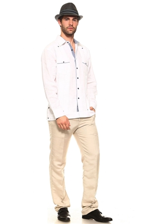 Wholesale Clothing Men's Guayabera Linen Button Down Shirt Long Sleeve with Gingham Print Accent Trim Collar and Pockets Chacabana -M-5308-B