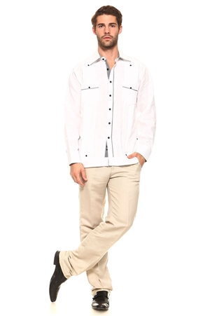 Wholesale Clothing Men's Guayabera Linen Shirt Button Down Long Sleeve with Gingham Print Accent Trim Chacabana -M-5309-A