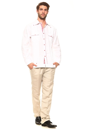 Wholesale Clothing Men's Guayabera Linen Shirt Button Down Long Sleeve with Gingham Print Accent Trim Chacabana -M-5309-B