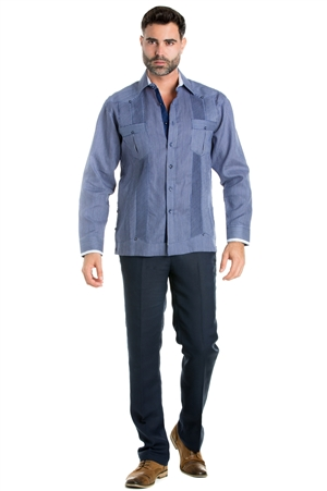 Wholesale Clothing Linen Shirt Guayabera Pinstripe Print Long Sleeve Button Down  -M-5310-B