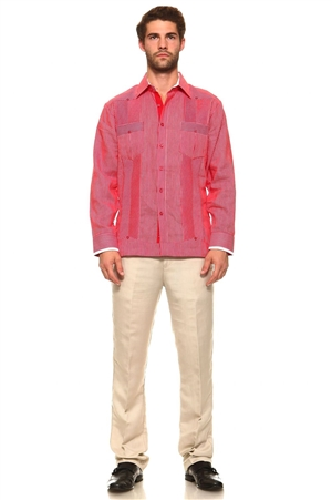 Wholesale Clothing Men's Pinstripe Guayabera Linen Button Down Shirt Long Sleeve with White Accent Color Trim Collar and Cuff Chacabana -M-5310-B