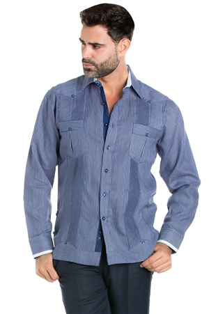 Wholesale Clothing Linen Shirt Guayabera Pinstripe Print Long Sleeve Button Down  -M-5310-C