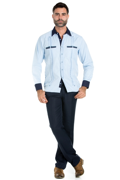 Wholesale Clothing Men's Premium Cotton Blend Guayabera Shirt Long Sleeve 2 Pocket Design with Contrast Print Trim M-5311-B