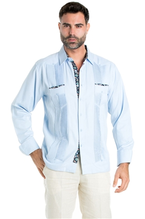 Wholesale Clothing Men's Premium Cotton Blend Guayabera Shirt Long Sleeve 2 Pocket Design with Contrast Paisley Print Trim -M-5312-A