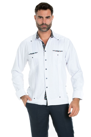 Wholesale Clothing Men's Premium Cotton Blend Guayabera Shirt Long Sleeve 2 Pocket Design with Contrast Paisley Print Trim -M-5312-B