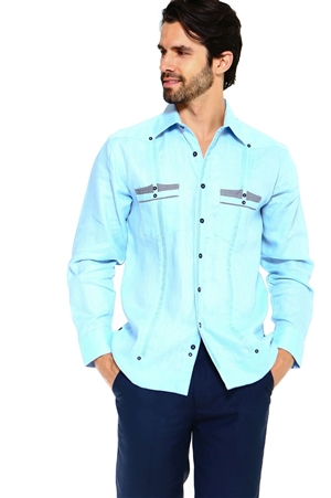 Wholesale Clothing Men's Premium 100% Linen Guayabera Shirt Long Sleeve 2 Pocket Design with Contrast Gingham Print Pocket Trim -M-5313-A