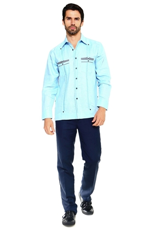 Wholesale Clothing Men's Premium 100% Linen Guayabera Shirt Long Sleeve 2 Pocket Design with Contrast Gingham Print Pocket Trim M-5313-B