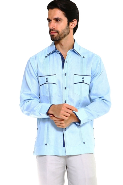 Wholesale Clothing Men's Premium 100% Linen Guayabera Shirt Long Sleeve 2 Pocket Design with Contrast Polka Dot Trim M-5314-B