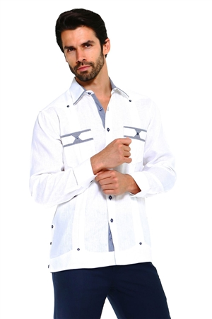 Wholesale Clothing Men's Premium 100% Linen Guayabera Shirt Long Sleeve 2 Pocket Design with Contrast Print Trim -M-5315-A