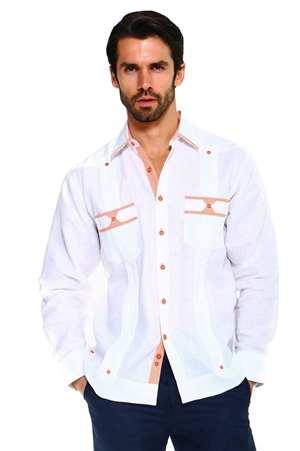 Wholesale Clothing Men's Premium 100% Linen Guayabera Shirt Long Sleeve 2 Pocket Design with Contrast Print Trim M-5315-B