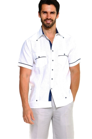 Wholesale Clothing Men's Premium 100% Linen Guayabera Shirt Short Sleeve 2 Pocket Design with Contrast Print Trim M-5316-B