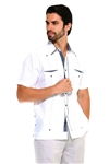 Wholesale Clothing Men's Premium 100% Linen Guayabera Shirt Short Sleeve 2 Pocket Design with Contrast Print Trim -M-5317-A