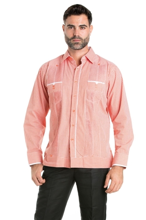 Wholesale Clothing Men's Checker Print Guayabera Shirt Long Sleeve 2 Pocket Design with Contrast Trim  -M-5318-A