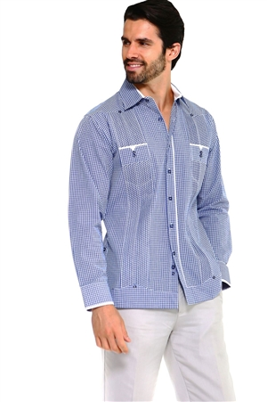 Wholesale Clothing Men's Checker Print Guayabera Shirt Long Sleeve 2 Pocket Design with Contrast Trim M-5318-B