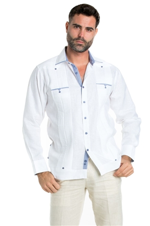 Wholesale Clothing Linen Shirt Guayabera Long Sleeve Button Down with Piping and Contrast Trim -M-5320-B