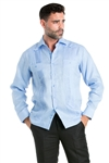 Wholesale Clothing Linen Shirt Guayabera Long Sleeve Button Down with Piping and Contrast Trim -M-5320-C