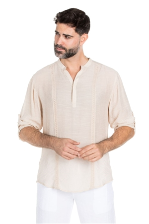Wholesale Clothing Big & Tall Men's Mandarin Collar Beachwear Button Up Pin Tuck Roll Up Sleeve Shirt -M-5320R-C