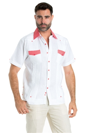 Wholesale Clothing Linen Shirt Guayabera Short Sleeve Button Down with Collar Cuff and Pocket Gingham Print Trim -M-5321-A