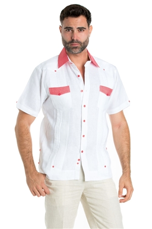 Wholesale Clothing Linen Shirt Guayabera Short Sleeve Button Down with Collar Cuff and Pocket Gingham Print Trim -M-5321-B