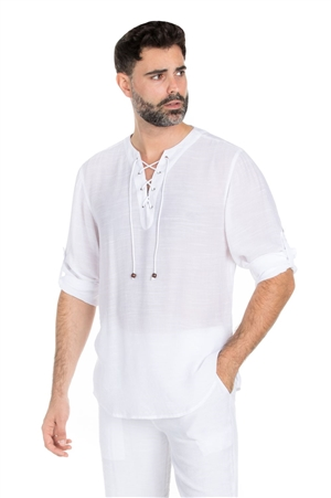 Wholesale Clothing Big & Tall Men's Casual Beachwear Lace Up Collar Roll Up Sleeve Shirt -M-5321R-C