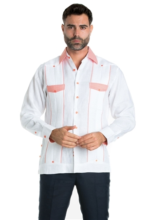 Wholesale Clothing Linen Shirt Guayabera Long Sleeve Button Down with Collar Cuff and Pocket Gingham Print Trim -M-5322-A