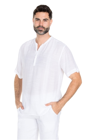 Wholesale Clothing Big & Tall Men's Mandarin Collar Beachwear Short Sleeve Embroidery Shirt -M-5322R-C