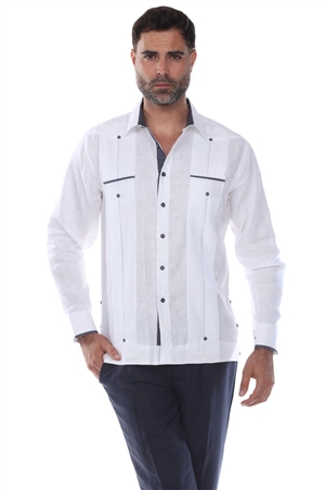 Wholesale Clothing Men's Premium Linen Guayabera Shirt Long Sleeve with Print Trim Accent -M-5350-B