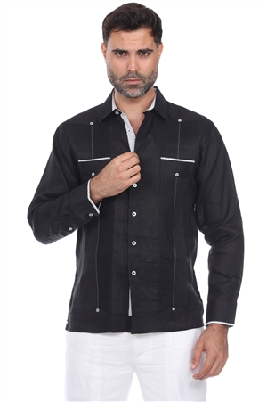 Wholesale Clothing Men's Big & Tall Premium Linen Guayabera Shirt Long Sleeve -M-5350-C