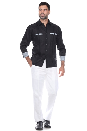 Wholesale Clothing Men's Premium Linen Guayabera Shirt Long Sleeve with Print Trim Accent -M-5351-B