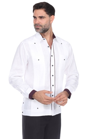 Wholesale Clothing Men's Premium Linen Guayabera Shirt Long Sleeve with Piping Trim -M-5352-A