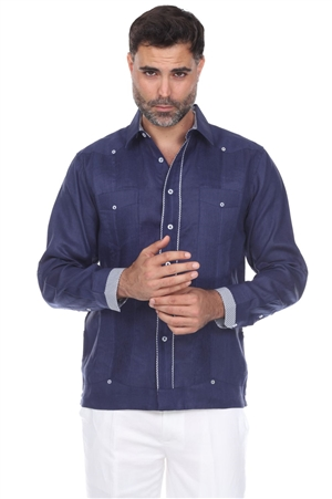 Wholesale Clothing Men's Premium Linen Guayabera Shirt Long Sleeve with Piping Trim -M-5352-B