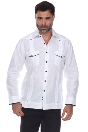 Wholesale Clothing Men's Big & Tall Premium Linen Guayabera Shirt Long Sleeve -M-5353-C
