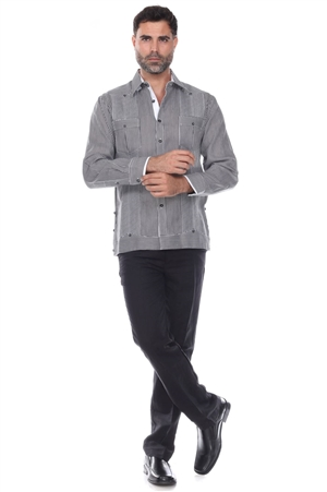 Wholesale Clothing Men's Pinstripe Premium Linen Guayabera Shirt Long Sleeve -M-5357-B