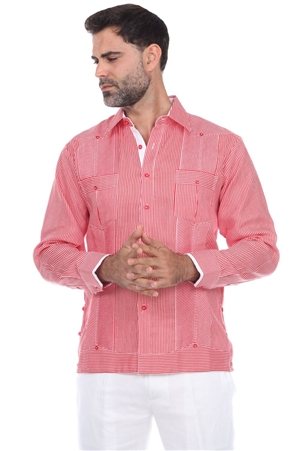 Wholesale Clothing Men's Big & Tall Pinstripe Premium Linen Guayabera Shirt Long Sleeve -M-5357-C