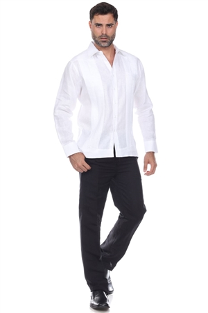 Wholesale Clothing Men's Big & Tall Premium Linen Guayabera Shirt Long Sleeve Solid Color -M-5358-C