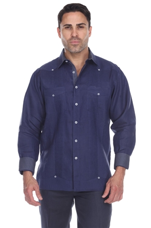 Wholesale Clothing Men's 100% Linen Guayabera Shirt Long Sleeve -M-5361-B