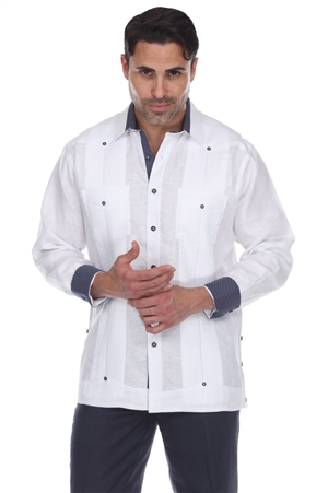 Wholesale Clothing Men's Big Size 100% Linen Guayabera Shirt Long Sleeve -M-5361-C