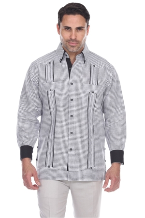 Wholesale Clothing Men's Checker Print 100% Linen Guayabera Shirt Long Sleeve -M-5362-A