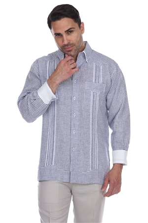 Wholesale Clothing Men's Checker Print 100% Linen Guayabera Shirt Long Sleeve -M-5362-B
