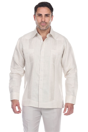 Wholesale Clothing Men's Big Size 100% Linen Guayabera Shirt Long Sleeve -M-5363-C