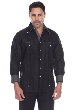 Wholesale Clothing Men's 100% Linen Guayabera Shirt Long Sleeve -M-5364-A