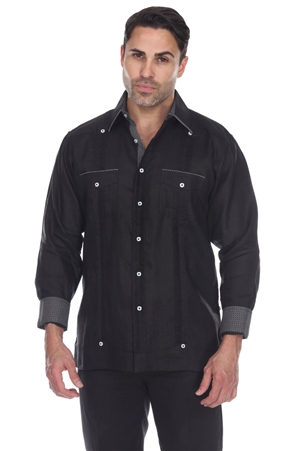Wholesale Clothing Men's Big Size 100% Linen Guayabera Shirt Long Sleeve -M-5364-C